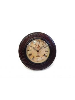 Antique Reproduction Wood and Glass Wall Clock - Battery Operated