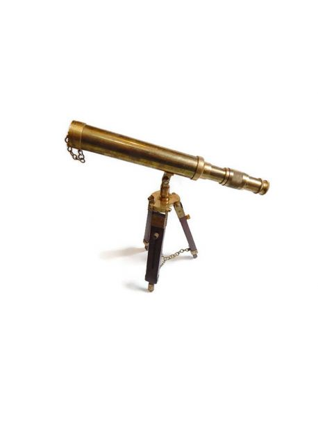 Collectible Nautical Vintage Brass Telescope Brown Wooden Tripod Collectible