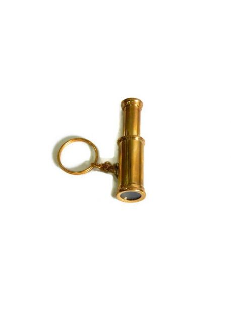 Nautical Decor Brass Spyglass Key Chain 3 inches - Brass Key Ring - Telescope Key Chain