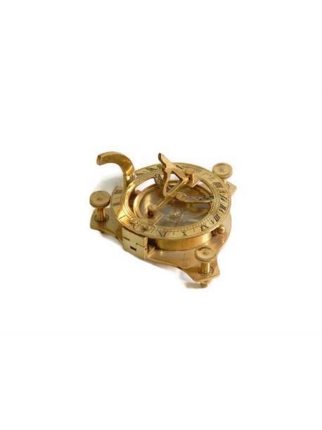 Nautical Maritime Brass Pocket Sundial Compass 4 Inch Collectible Decor