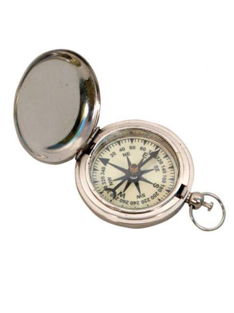 Vintage Chrome Plated Pocket Compass Anchor Nautical Decor Hiking
