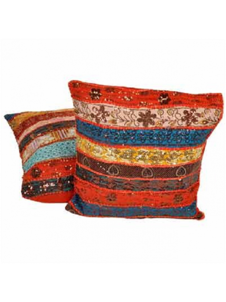 Pillow Cushion Covers with Multi Color Stripes Set