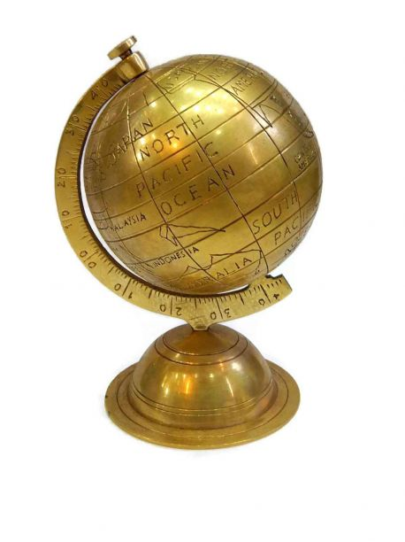 Round the World Brass Globe With Stand -  -