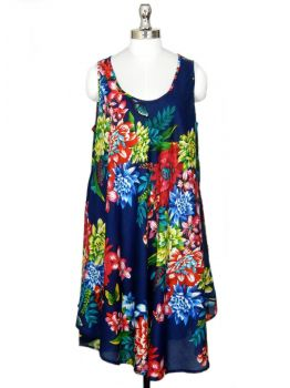 Hawaiian Sleeveless Floral Dress -  -