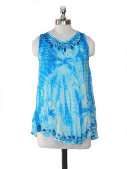 Boho Blue Sleeveless Top -  -