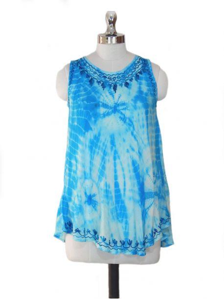 Boho Blue Sleeveless Top -  -