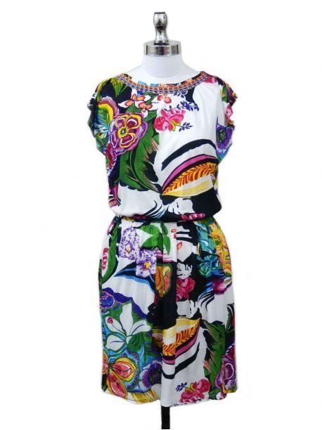 Sarvona Cap Sleeve Dress -  -