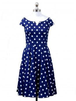 Blue Polka Dot Midi Dress