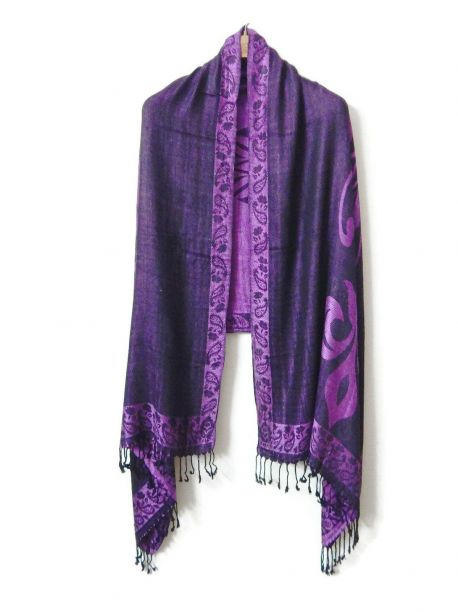 Bano Purple Scarves With Fringe -  -