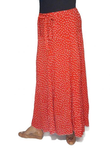Red Mike polka dot long skirt -  -