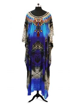 Fethers Navy Kaftan Dress