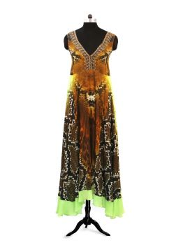 Glen Sleeveless Long Kaftan Dress -  -
