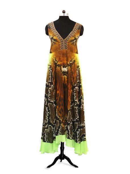 Glen Sleeveless Long Kaftan Dress -  -