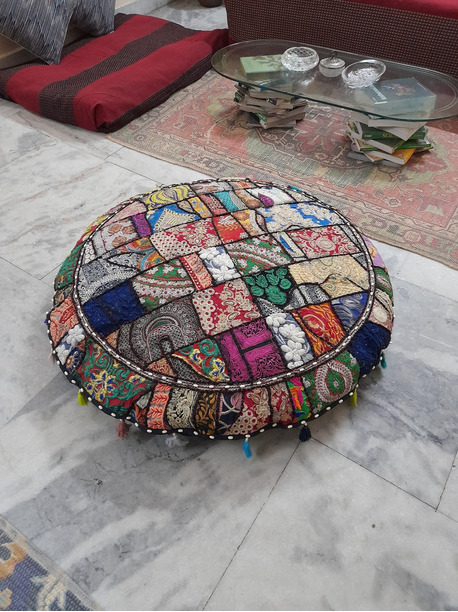 Claudia Decorative Round Floor Pillow - -