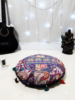22 inches Floor Cushion Covers Indian Pouffe Poof Round Pouf FootStool Ethnic Decorative Pillow