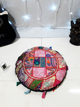 22 inches Round Floor Pillow Indian Poof Pouffe Foot Stool Ethnic Decor