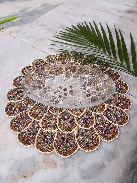 Quinn Beaded placemats round - -