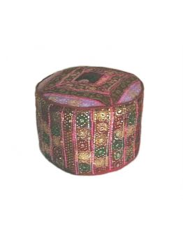 Indian Cotton Decor Ottoman Cover Vintage Embroidered Foot Stole Pouf Pouffe