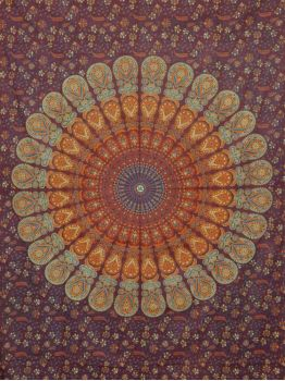 Mandala Wall Tapestries Peacock Print Tapestry Cotton Bedspread