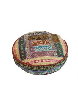 Patchwork Floor Cushion Ethnic Pouf Ottoman Indian Art Embroidered Pouffe Foot Stool