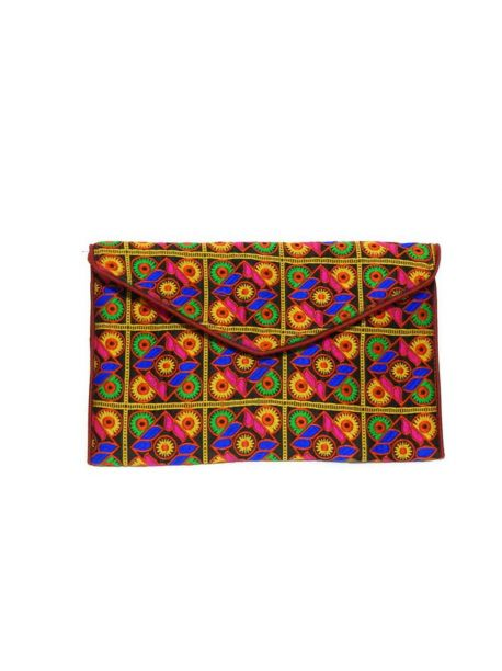 Hand Embroidered Bag Multicolor Vintage Indian Hand Beaded Fancy Clutch Wedding Bag