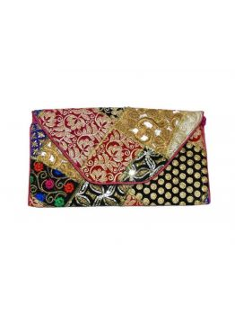 Hand Embroidered Clutch Indian Antique Handbag Multicolor Gypsy Beaded Bag Purse