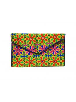 Handmade Cloth Embroidered Purse Multicolor Patchwork Handbag Clutch Bag