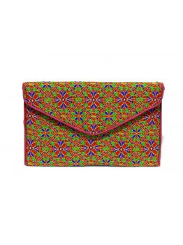 Handmade Cotton Style Purse Indian Clutch Embroidered Multicolor Handbag Clutch Bag