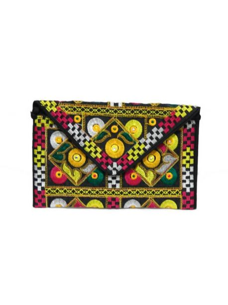 Handmade Evening Clutch Bags Vintage Indian Multicolor Handbag Embroidered Women Purse