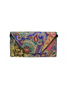 Handmade Fabric Vintage Indian Handbag Hand Beaded Purse Gypsy Bag