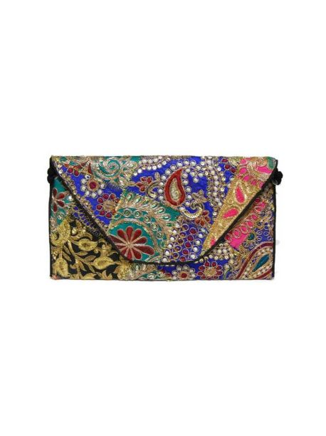 Handmade Fabric Gift Bags Vintage Bag Indian Multicolor Gypsy Hand Beaded Purse