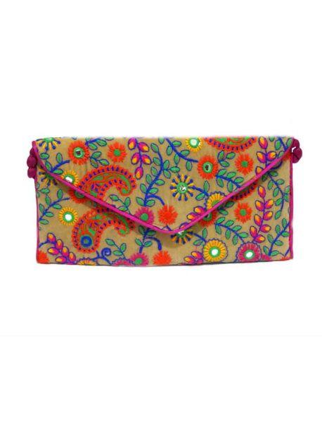 Handmade Fabric Purses Indian Gift Bag Multicolor Handbag Beaded Wedding Clutch
