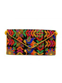 Handmade Indian Clutch Vintage Multicolor Indian Handbag Hand Beaded Purse Bag