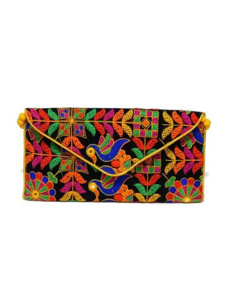 Handmade Indian Clutch Vintage Bag Multicolor Indian Handbag Hand Beaded Purse