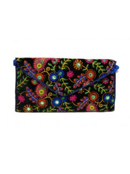 Handmade Fabric Purses Indian Gift Bag Multicolor Handbag Beaded Wedding Clutch