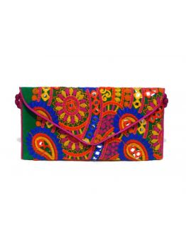 Handmade Cotton Clutch Indian Purse Multicolor Wedding Style Bag
