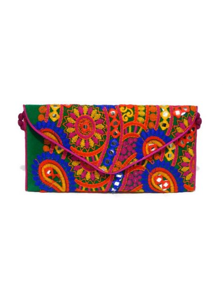 Handmade Multi-Coloured Beaded Clutch Bag Vintage Embroidered Indian Clutch