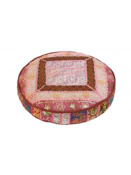 "22"" inches Patchwork Floor Pillow Round Kantha Ethnic Ottoman Pouffe Cover"