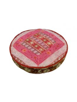 Floor Cushion cover Pouf Ottoman Indian Pouffe Poof Round Pouf Foot Stool Ethnic Decorative