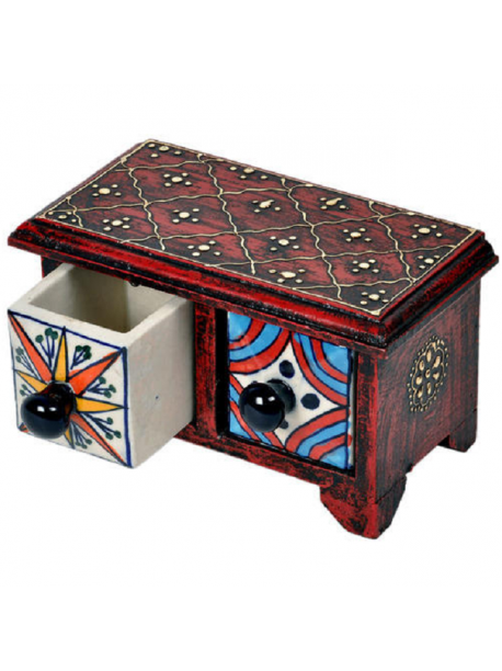 Wooden Ceramic Double Drawer Set