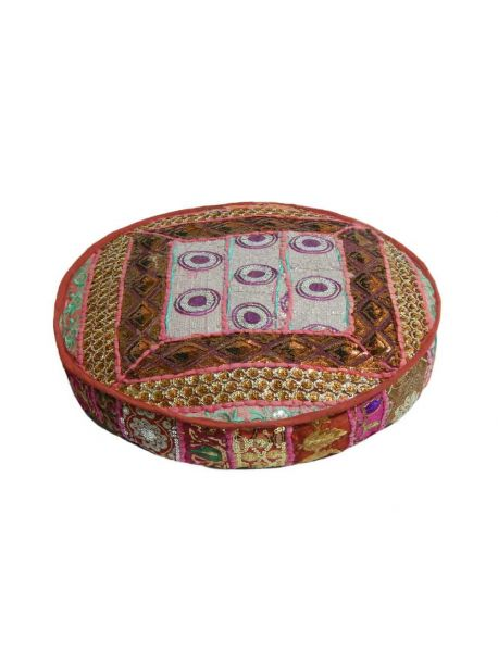 22 inches Patchwork Floor Pillow Ethnic Pouf Ottoman Indian Art Embroidered Pouffe Foot Stool