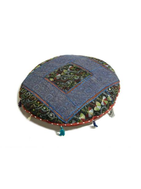 Handcrafted Decorative Pillow Covers Ethnic Pouf Ottoman Indian Art Embroidered Pouffe