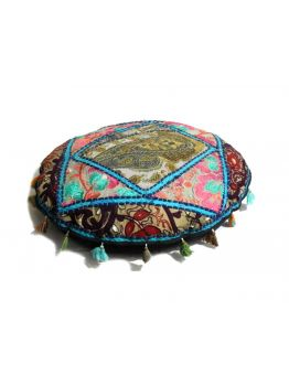 Handmade Patchwork Pouf Indian Pouffe Poof Round FootStool Ethnic Decorative Pillow